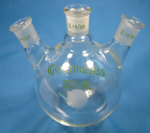 Chemglass 250 Ml Round Bottom 3 neck Flask All 14 20 Free Shipping L