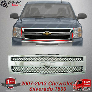 Front Grille Chrome Shell Textured Insert For 2007 13 Chevrolet Silverado 1500