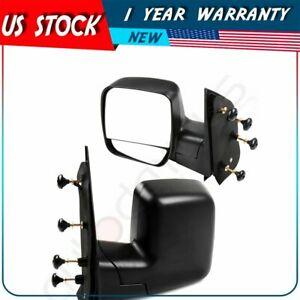 For 2003 2014 Ford Econoline Passenger driver Side Manually Fold Black Mirrors