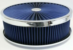 14 X 4 Chrome Round Blue High Flow Thru Washable Air Cleaner Drop Base Sbc 350