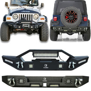 Fit For 1997 2006 Jeep Wrangler Tj Classic Front Rear Bumper W Lights D Rings