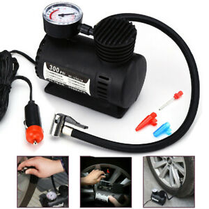 Car Electric Air Pump 300psi Mini Air Compressor Portable Tire Inflator Black Us