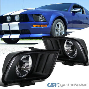 For 05 09 Ford Mustang Gt Matte Black Headlights Front Driving Lamps Left Right