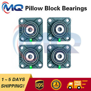 Set Of 4 New Ucf201 8 Pillow Block Flange Bearing 1 2 Bore 4 Bolt Solid Base