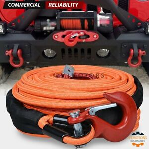Orange Synthetic Winch Rope 95 X 3 8 22000 Lb W Red Clevis Hook 35 000lb Wll