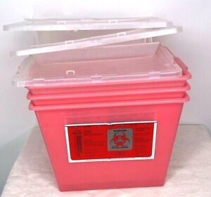 Bemis Sharp Sentinel 2 Gallon Red Sharps Containers With Lids X3