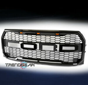 For 2015 2017 Ford F 150 Pickup Mesh Upper Hood Grille W Amber Led Glossy Black