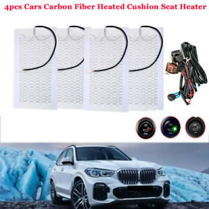 Universal 2 Seats Heated Seat Heater Kit Carbon Fiber Round High low Switch