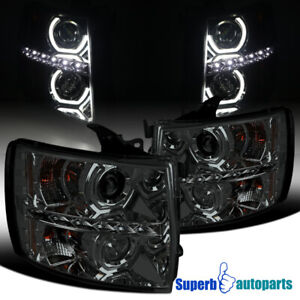For 2007 2014 Chevy Silverado Led U halo Smoke Tinted Projector Headlights Lamps