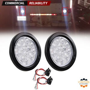 2x 4 Inch White 12 Led Round Backup Tail Truck Light W Grommet Wiring Plug