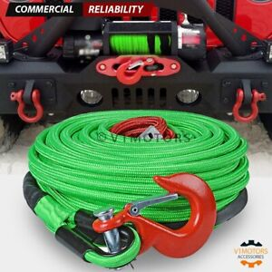 Combo Green Synthetic Winch Rope 3 8 X 95 Red Clevis Hook 22000 Lb Atv Utv