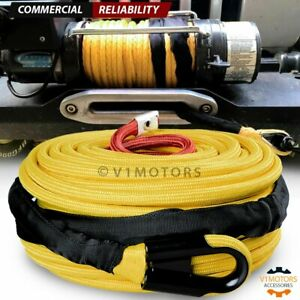 3 8 X 95 Synthetic Winch Rope Cable 22000lb W Abrasion Protection Cover Yellow