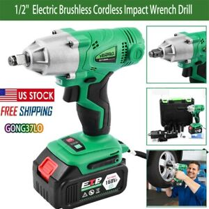 1 2 Electric Brushless Cordless Impact Wrench Drill High Torque 16800mah Us