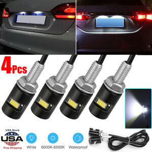4pcs Universal Motorcycle Car Smd Led License Plate Light Screw Bolt Lamp Bulbs