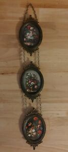 3 Vtg Small Wall Hanging Brass Oval Picture Frames Linked Made In Italy Ornate