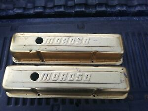 Vintage Moroso Small Block Chevy Gold Anodized Aluminum Valve Covers Very Nice