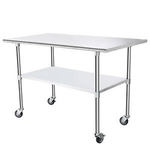 30 X 60 Stainless Steel Commercial Hotel Kitchen Work Food Prep Table W Wheels