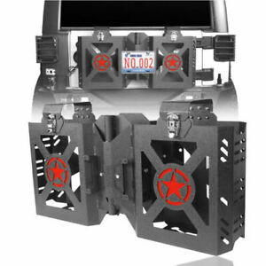 Steel Double Jerry Gas Can Holder Tailgate Mount Fit For Wrangler Jeep Jk 07 18