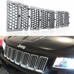 Chrome Front Mesh Grille Honeycomb Insert Trim For Jeep Grand Cherokee 2014 2016