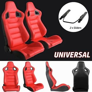 Universal Racing Seats Pair Of 2 Red Leather Racing Bucket Seats W Dual Sliders