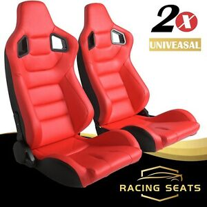 2021 Universal Reclinable Red Racing Seats Pair Red Leather Bucket Sport Seat