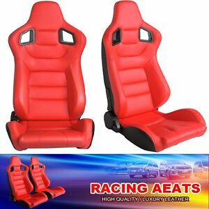 Universal Red Racing Seats Pair For Car Leather Reclinable Bucket Sport Seats