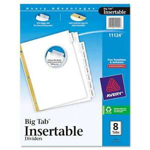 Avery Insertable Big Tab Dividers 8 tab Letter 072782111243
