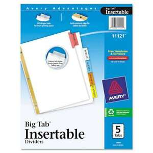 Avery Insertable Big Tab Dividers 5 tab Letter 072782111212
