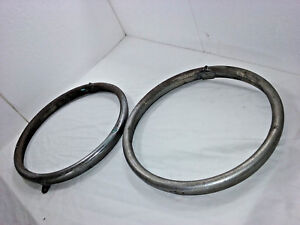 1920 s 1930 s Plated Brass Headlight Bezels Set Of 2 Ms751