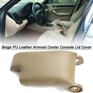 Beige Armrest Center Console Lid Cover Pu Leather For Bmw E46 3series 1999 2004