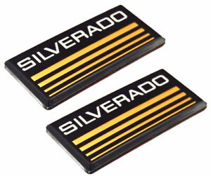 Pair Cab Emblem Badge Side Roof Pillar Decal Plate For Chevy Silverado Yellow