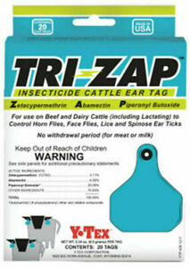 Y tex 1625000 Tri zap 20 Count Insecticide Fly Cattle Ear Tags