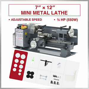 Benchtop Mini Metal Lathe Cutter For Metal And Woodworking 7 x12 550w 2250rpm
