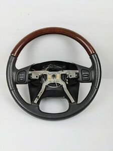 2004 Jeep Grand Cherokee Overland Wj Factory Leather Steering Wheel Woodgrain