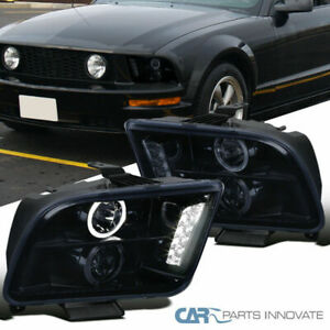 Glossy Black Ford 05 09 Mustang Tinted Halo Projector Headlights Head Lamps Pair