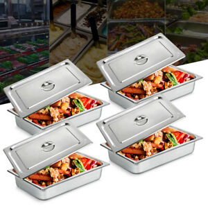 New 4 deep Full Size 4 stainless Steel Steam Table Pans W lids Hotel Food Prep