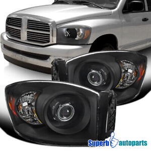 For 2006 2008 Dodge Ram 1500 06 09 Ram 2500 3500 Black Projector Headlights Pair