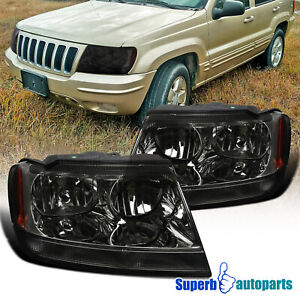For 1999 2004 Jeep 99 04 Grand Cherokee Headlights Smoke W Corner Signal Lamps