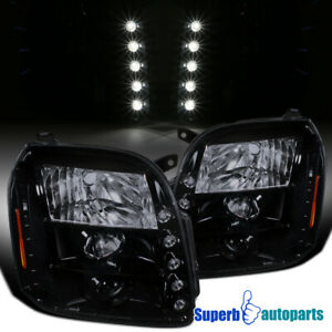 For 2007 2014 Gmc Yukon Denali Xl Projector Headlights Lamps Glossy Black Led