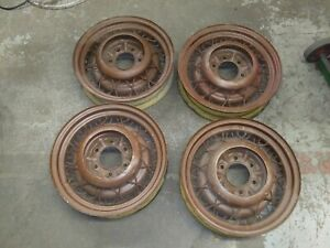 1934 Chevrolet Bent Spoke Wire Wheels Set Of 4 With 3 Caps