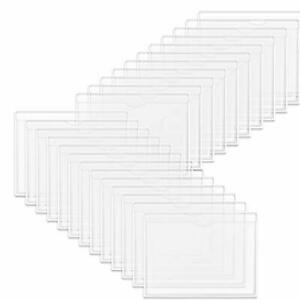 Self adhesive Index Card Holder 50 Pack Clear Plastic Library Card Pockets