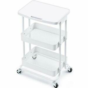 3 tier Metal Rolling Storage Cart With Practical Tabletop 3 tier Metal