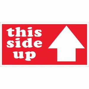 Tape Logic Labels this Side Up Arrow 3 X 6 Red white 500 roll