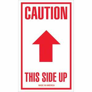 Tape Logic Labels caution This Side Up Arrow 3 X 5 Red white 500 roll