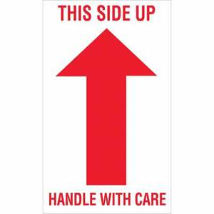 Tape Logic Labels this Side Up Handle With Care 3 X 5 Red white 500 ro