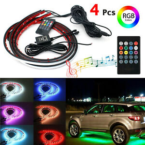 Rgb 48 Led Strip Under Car Tube Underglow Underbody System 4pcs Neon Lights Kit