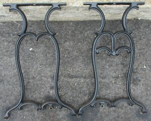 Set Of 2 Cast Iron Industrial Legs Table Base Black 29 High