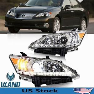 For Lexus Es350 Headlights Front Lamps 2010 2012 Chrome Led Drl Dual Beam 1 Pair