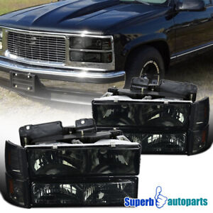 For 1994 1998 Gmc C10 C K Sierra Headlights Bumper Corner Lights Smoke