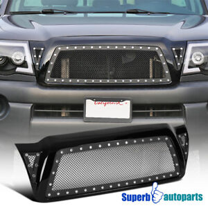 For 2005 2011 Toyota Tacoma Glossy Black Abs Rivet Mesh Style Front Hood Grille